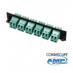Adapter Plate, 24F, 12 LC dúplex, MM, Aqua COMMSCOPE AMP